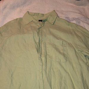 Men's green linen shirt
